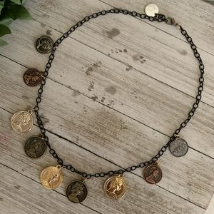 Handmade Mixed Metal Coin Necklace